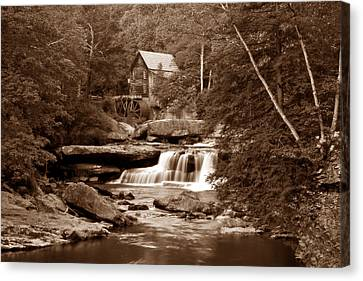 Sepia Tone Canvas Print - Glade Creek Mill In Sepia by Tom Mc Nemar