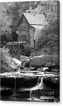 Old Feed Mills Canvas Print - Glade's Mill Black And White by Dwight Cook