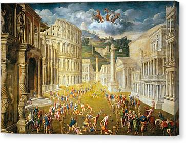 Gladiators Fighting Canvas Print by Paris Bordone
