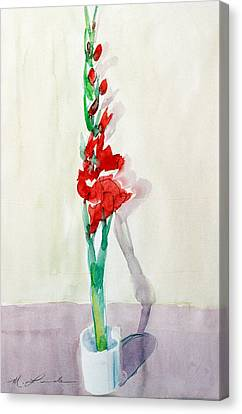 Gladiolas In A Coffee Cup Canvas Print by Mark Lunde