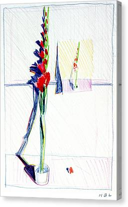 Gladiolas Pic. In Pic. Canvas Print by Mark Lunde