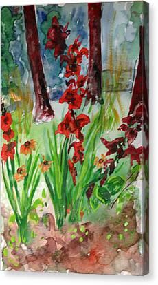 Warecolor Canvas Print - Gladioli-2 by Vladimir Kezerashvili