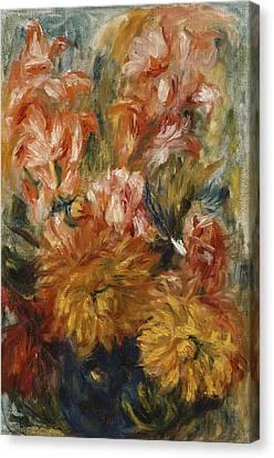 Gladioli In A Blue Vase Canvas Print by Pierre Auguste Renoir