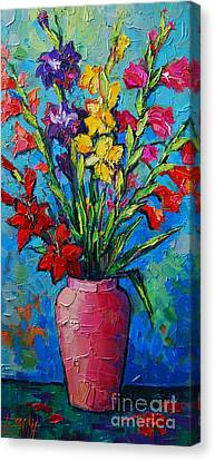 Gladioli In A Vase Canvas Print by Mona Edulesco