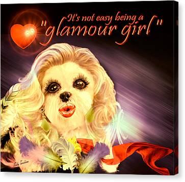 Canvas Print featuring the digital art Glamour Girl-1 by Kathy Tarochione
