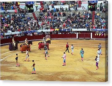 Glamour In The Bullfight Canvas Print by Laura Jimenez