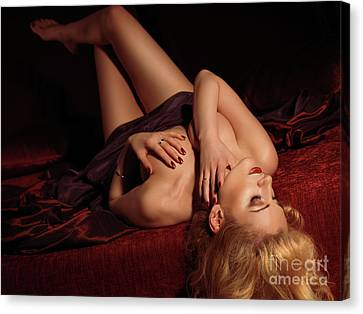 Glamour Photo Of A Woman Lying On A Bed Canvas Print by Oleksiy Maksymenko