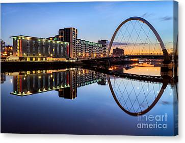 City Of Bridges Canvas Print - Glasgow Clyde Arc  by John Farnan