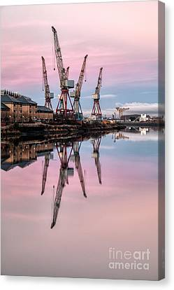 Glasgow Cranes With Belt Of Venus Canvas Print by John Farnan