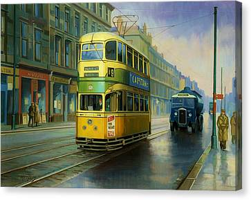 Glasgow Tram. Canvas Print by Mike  Jeffries