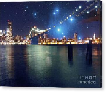 Glass Block Brooklyn Bridge Among The Stars Canvas Print by Beverly Claire Kaiya