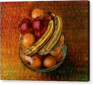 Glass Bowl Of Fruit Canvas Print