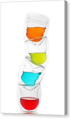 Glass Cups And Colorful Drinking II Liquid Art Canvas Print by Paul Ge