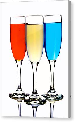 Glass Cups And Colorful Drinking Liquid Art Canvas Print by Paul Ge