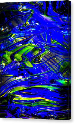 Glass Macro Abstract Seahawks Blue And Green Canvas Print by David Patterson