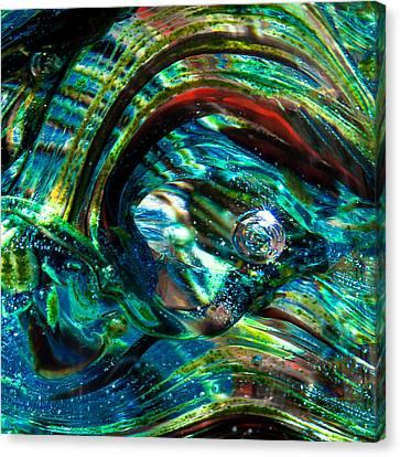 Glass Macro - Blue Green Swirls Canvas Print by David Patterson