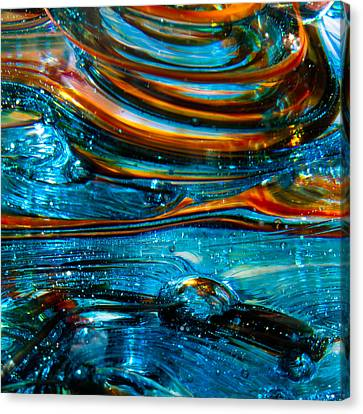 Glass Macro - Blue Swirls Canvas Print by David Patterson