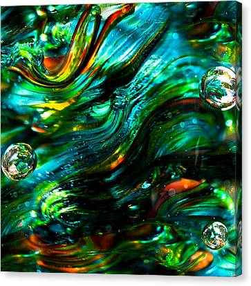 Glass Macro - Greens And Blues Canvas Print by David Patterson
