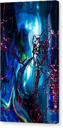 Glass Macro - The Blue Bubble Canvas Print by David Patterson