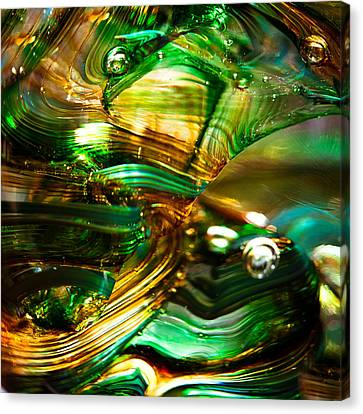 Glass Macro - Waves Of Amber Canvas Print by David Patterson