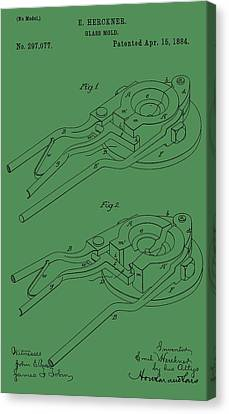 Glass Mold Patent On Green Canvas Print by Dan Sproul