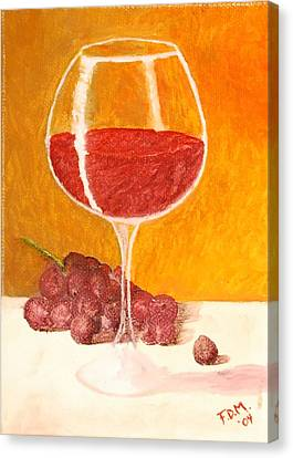Glass Of Grapes Canvas Print