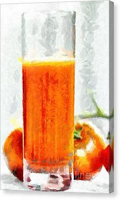 Glass Of Tomato Juice Closeup Painting Canvas Print