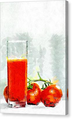 Glass Of Tomato Juice Painting Canvas Print