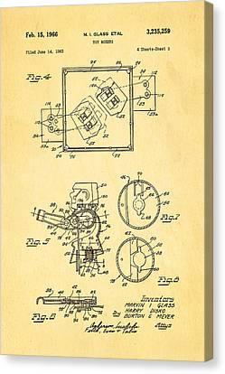 Glass Rock Em Sock Em Robots Toy Patent Art 2 1966 Canvas Print by Ian Monk