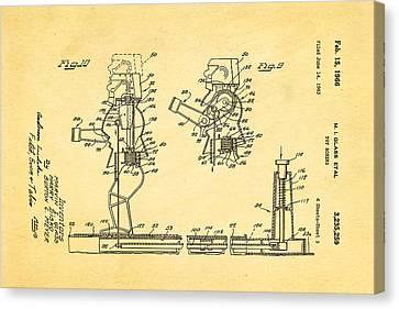 Glass Rock Em Sock Em Robots Toy Patent Art 3 1966 Canvas Print by Ian Monk