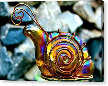 Glass Snail Garden Art Canvas Print by Karon Melillo DeVega