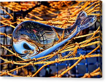 Glass Whale On Fishing Nets Canvas Print by Susie Peek