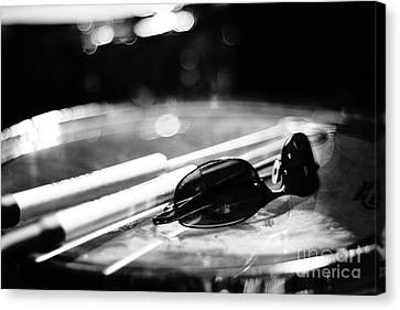 Glasses And Sticks Bw Canvas Print by Lynda Dawson-Youngclaus
