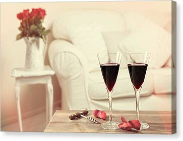 Glasses Of Red Wine Canvas Print by Amanda Elwell
