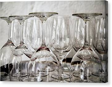 Wine Glasses On A Barrel Canvas Print by Georgia Fowler