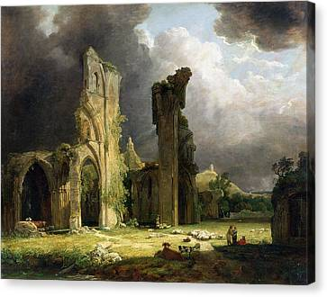 Glastonbury Abbey With The Tor Canvas Print by George Arnald