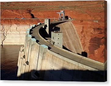 Glen Canyon Dam Across Colorado River Canvas Print by David Wall