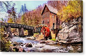 Grist Canvas Print - Glen Creek Grist Mill Painting by Bob and Nadine Johnston