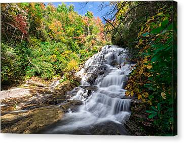 Glen Falls In North Carolina Canvas Print by Andres Leon