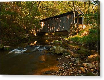 Glen Hope Covered Bridge Canvas Print by Michael Porchik