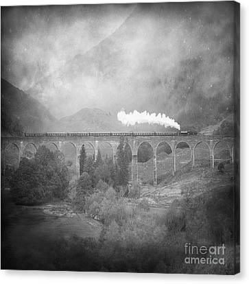 Canvas Print featuring the photograph Glenfinnan Black And White by Roy  McPeak