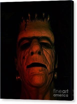 Glenn Strange As Frankenstein Mask Canvas Print by Jim Fitzpatrick