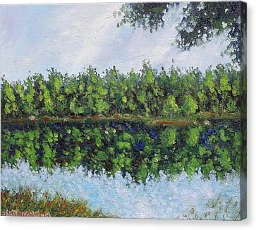 Canvas Print featuring the painting Glenoak Lake by Jason Williamson