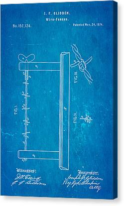 Glidden Barbed Wire Patent Art 1874 Blueprint Canvas Print by Ian Monk