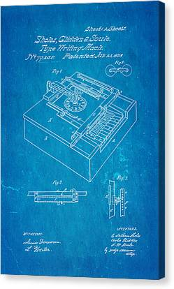 Glidden Type Writer Patent Art 1868 Blueprint Canvas Print by Ian Monk