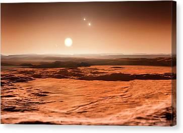 Gliese 667 Triple-star System Canvas Print by Eso/m. Kornmesser