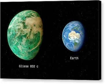 Gliese Canvas Print - Gliese 832 And Earth by Detlev Van Ravenswaay
