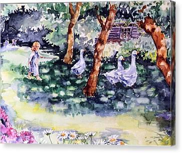 Glimpse Into A Garden  Canvas Print by Trudi Doyle