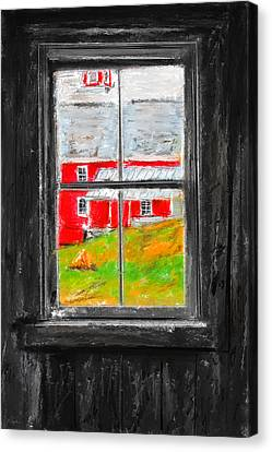 Glimpse Of Country Life- Red Barn Art Canvas Print by Lourry Legarde