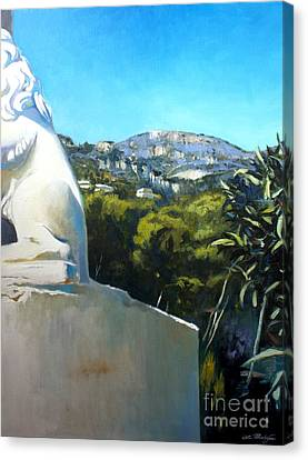 Glimpse Of Eze Canvas Print by Lin Petershagen